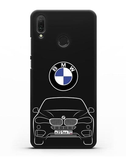 Чехол BMW X6 с автомобильным номером силикон черный для Huawei Y9 2019