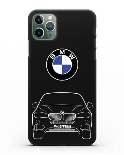 Чехол BMW X6 с автомобильным номером силикон черный для iPhone 11 Pro