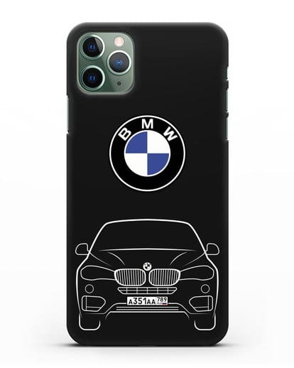 Чехол BMW X6 с автомобильным номером силикон черный для iPhone 11 Pro Max