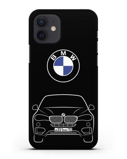 Чехол BMW X6 с автомобильным номером силикон черный для iPhone 12
