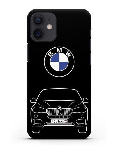 Чехол BMW X6 с автомобильным номером силикон черный для iPhone 12 mini