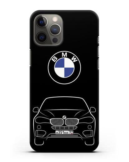 Чехол BMW X6 с автомобильным номером силикон черный для iPhone 12 Pro Max