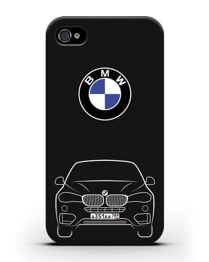 Чехол BMW X6 с автомобильным номером силикон черный для iPhone 4/4s