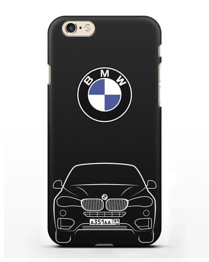 Чехол BMW X6 с автомобильным номером силикон черный для iPhone 6