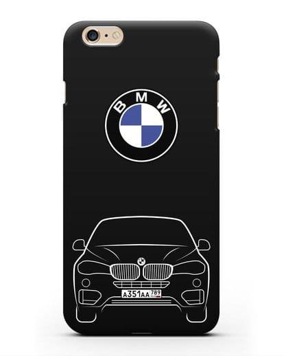 Чехол BMW X6 с автомобильным номером силикон черный для iPhone 6 Plus