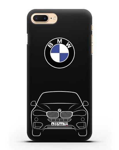 Чехол BMW X6 с автомобильным номером силикон черный для iPhone 8 Plus