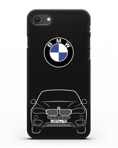 Чехол BMW X6 с автомобильным номером силикон черный для iPhone SE 2020