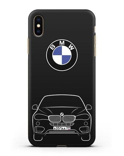 Чехол BMW X6 с автомобильным номером силикон черный для iPhone XS Max