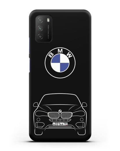 Чехол BMW X6 с автомобильным номером силикон черный для Xiaomi Poco M3