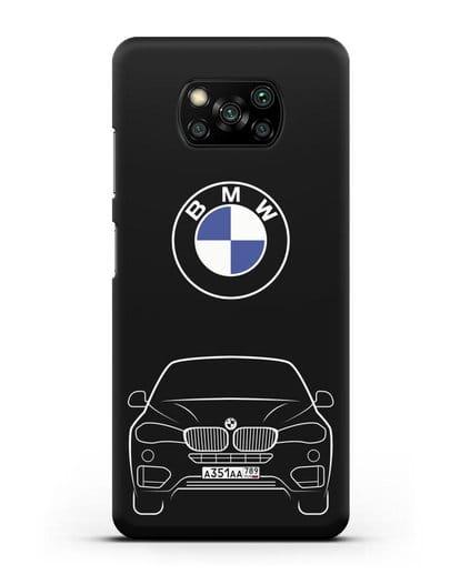 Чехол BMW X6 с автомобильным номером силикон черный для Xiaomi Poco X3 Pro