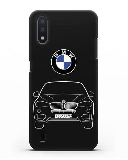Чехол BMW X6 с автомобильным номером силикон черный для Samsung Galaxy A01 [SM-A015F]
