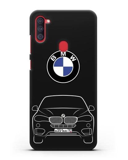Чехол BMW X6 с автомобильным номером силикон черный для Samsung Galaxy A11 [SM-A115F]