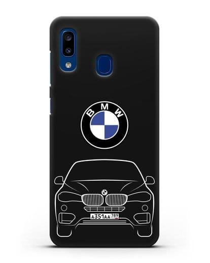 Чехол BMW X6 с автомобильным номером силикон черный для Samsung Galaxy A20 [SM-A205FN]