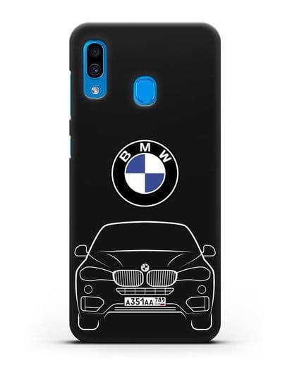 Чехол BMW X6 с автомобильным номером силикон черный для Samsung Galaxy A30 [SM-A305FN]
