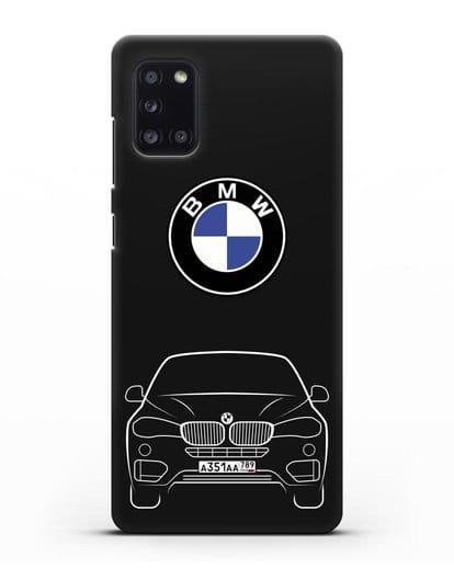 Чехол BMW X6 с автомобильным номером силикон черный для Samsung Galaxy A31 [SM-A315F]