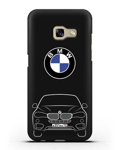 Чехол BMW X6 с автомобильным номером силикон черный для Samsung Galaxy A3 2017 [SM-A320F]