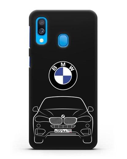 Чехол BMW X6 с автомобильным номером силикон черный для Samsung Galaxy A40 [SM-A405F]