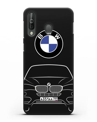 Чехол BMW X6 с автомобильным номером силикон черный для Samsung Galaxy A40s [SM-A507FN]