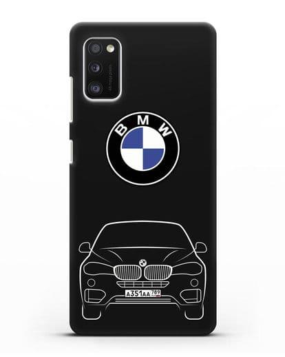 Чехол BMW X6 с автомобильным номером силикон черный для Samsung Galaxy A41 [SM-A415F]