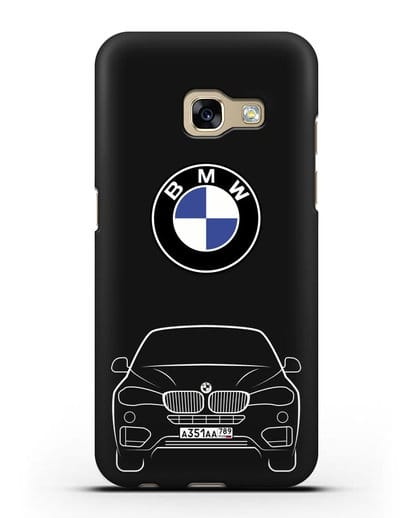 Чехол BMW X6 с автомобильным номером силикон черный для Samsung Galaxy A5 2017 [SM-A520F]