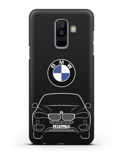Чехол BMW X6 с автомобильным номером силикон черный для Samsung Galaxy A6 Plus 2018 [SM-A605F]