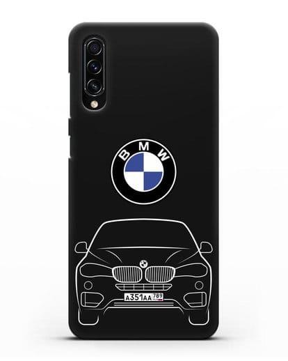 Чехол BMW X6 с автомобильным номером силикон черный для Samsung Galaxy A70s [SM-A707F]
