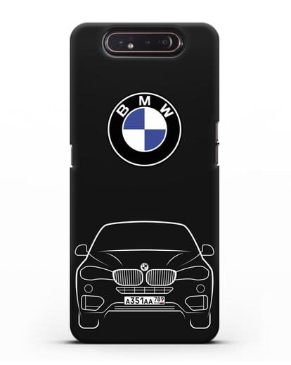 Чехол BMW X6 с автомобильным номером силикон черный для Samsung Galaxy A80 [SM-A805F]