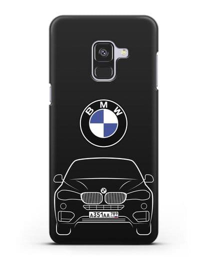 Чехол BMW X6 с автомобильным номером силикон черный для Samsung Galaxy A8 Plus [SM-A730F]