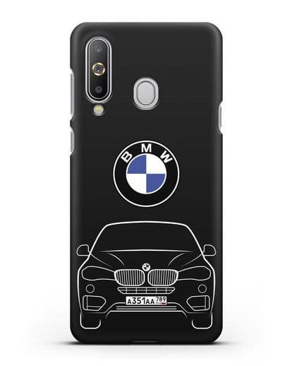 Чехол BMW X6 с автомобильным номером силикон черный для Samsung Galaxy A8s [SM-G8870]