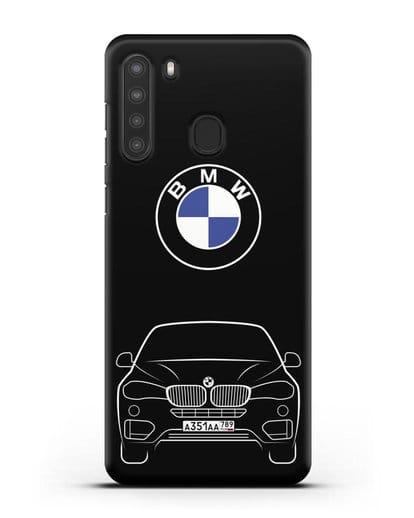 Чехол BMW X6 с автомобильным номером силикон черный для Samsung Galaxy A21 [SM-A215]