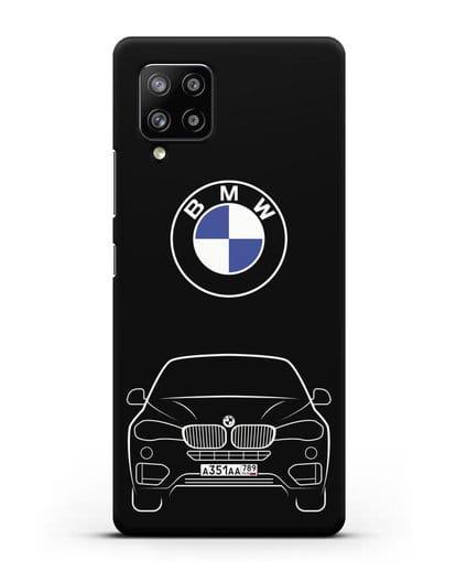 Чехол BMW X6 с автомобильным номером силикон черный для Samsung Galaxy A42 [SM-A426B]