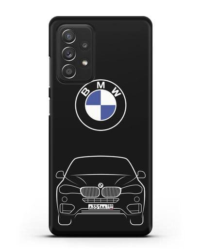Чехол BMW X6 с автомобильным номером силикон черный для Samsung Galaxy A52 5G [SM-A5260]