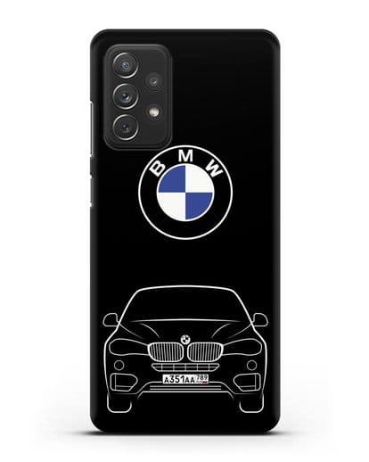 Чехол BMW X6 с автомобильным номером силикон черный для Samsung Galaxy A72 [SM-A725F]
