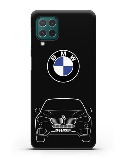 Чехол BMW X6 с автомобильным номером силикон черный для Samsung Galaxy M62 [SM-M625F]