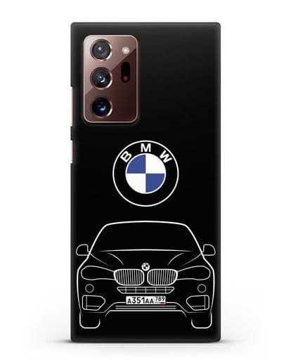 Чехол BMW X6 с автомобильным номером силикон черный для Samsung Galaxy Note 20 Ultra [SM-N985F]