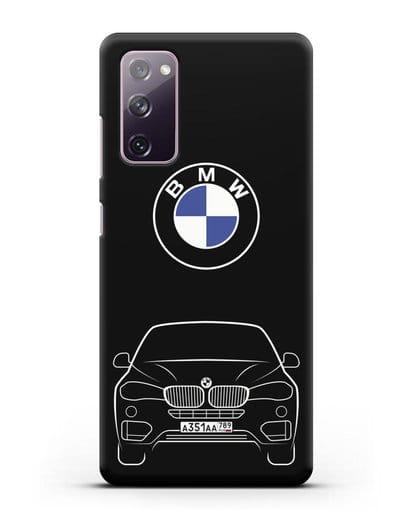Чехол BMW X6 с автомобильным номером силикон черный для Samsung Galaxy S20 FE [SM-G780F]