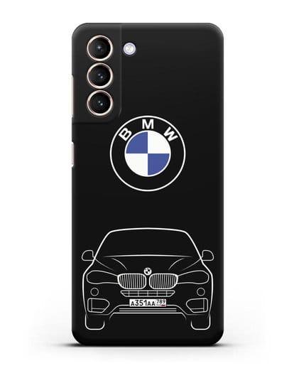 Чехол BMW X6 с автомобильным номером силикон черный для Samsung Galaxy S21 [SM-G991B]