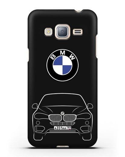 Чехол BMW X6 с автомобильным номером силикон черный для Samsung Galaxy J3 2016 [SM-J320F]