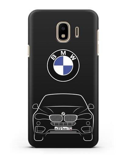 Чехол BMW X6 с автомобильным номером силикон черный для Samsung Galaxy J4 2018 [SM-J400F]