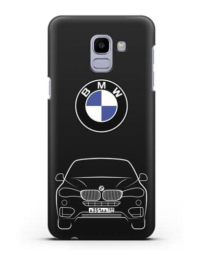 Чехол BMW X6 с автомобильным номером силикон черный для Samsung Galaxy J6 2018 [SM-J600F]