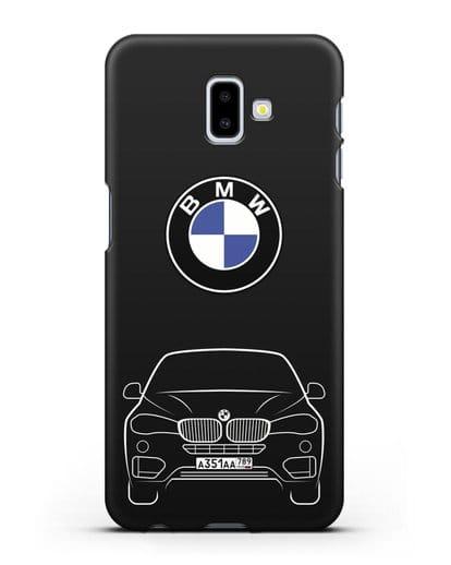 Чехол BMW X6 с автомобильным номером силикон черный для Samsung Galaxy J6 Plus [SM-J610F]