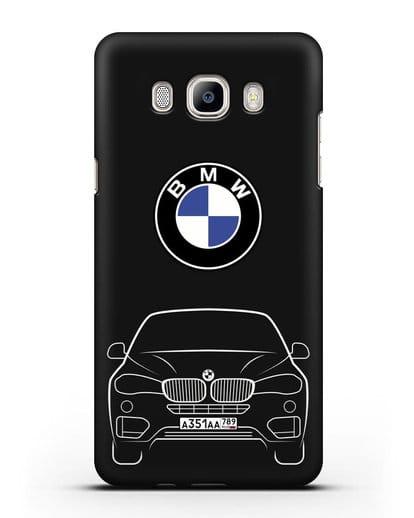 Чехол BMW X6 с автомобильным номером силикон черный для Samsung Galaxy J7 2016 [SM-J710F]
