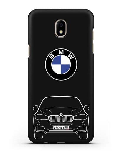 Чехол BMW X6 с автомобильным номером силикон черный для Samsung Galaxy J7 2017 [SM-J720F]