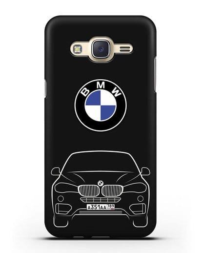 Чехол BMW X6 с автомобильным номером силикон черный для Samsung Galaxy J7 Neo [SM-J701F]