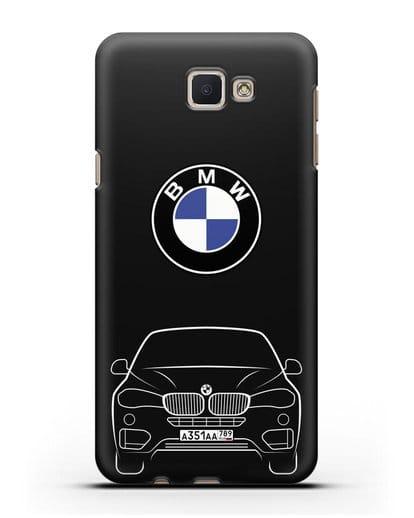 Чехол BMW X6 с автомобильным номером силикон черный для Samsung Galaxy J7 Prime [SM-G610F]