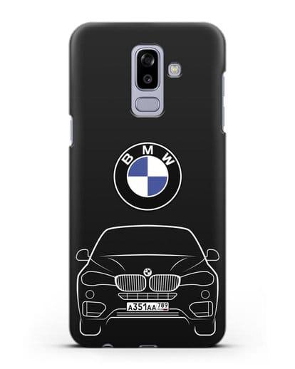 Чехол BMW X6 с автомобильным номером силикон черный для Samsung Galaxy J8 2018 [SM-J810F]
