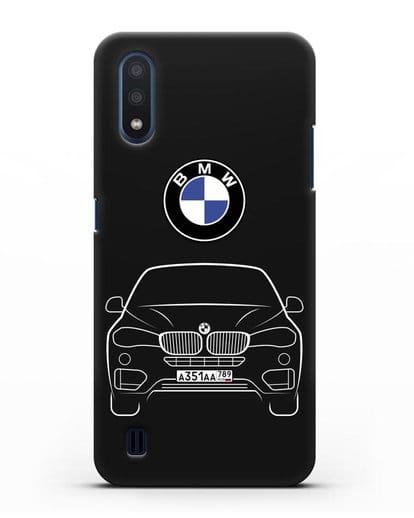 Чехол BMW X6 с автомобильным номером силикон черный для Samsung Galaxy M01 [SM-M015F]