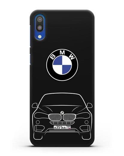 Чехол BMW X6 с автомобильным номером силикон черный для Samsung Galaxy M10 [SM-M105F]
