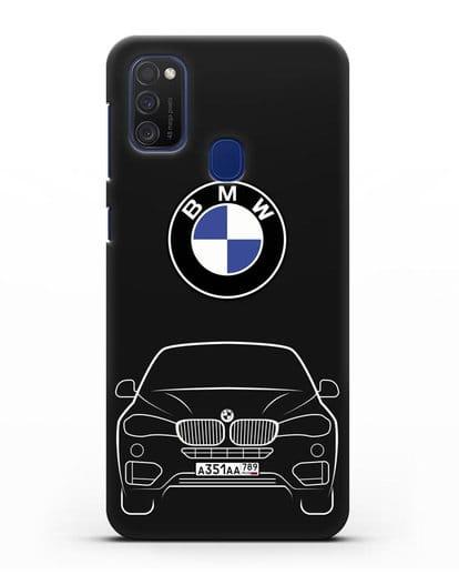 Чехол BMW X6 с автомобильным номером силикон черный для Samsung Galaxy M21 [SM-M215F]