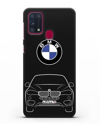 Чехол BMW X6 с автомобильным номером силикон черный для Samsung Galaxy M31 [SM-M315F]